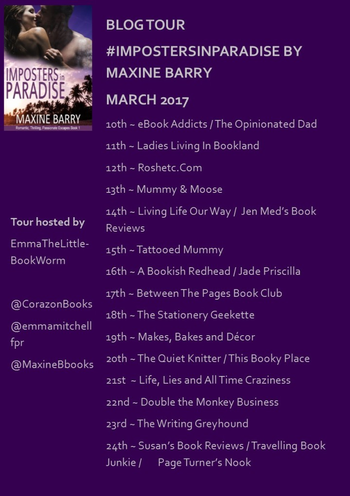 #BlogTour: Imposters In Paradise (@MaxineBbooks; @emmemitchellfpr; @CorazonBooks)